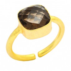 Square Shape Smoky Quartz Gemstone 925 Sterling Silver Gold Plated Ring