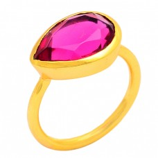 Faceted Pear Shape Pink Quartz Gemstone 925 Silver Gold Plated Ring