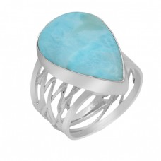 Cabochon Pear Shape Larimar Gemstone 925 Sterling Silver Handmade Ring Jewelry