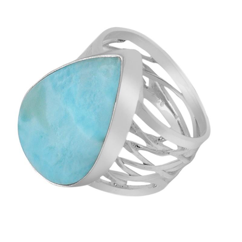 Cabochon Pear Shape Larimar Gemstone 925 Sterling Silver Handmade Ring Jewelry