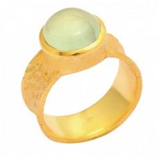 Cabochon Round Shape Chalcedony 925 Sterling Silver Gold Plated Ring