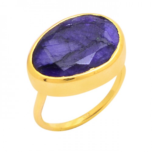 Oval Shape Blue Sapphire Gemstone 925 Silver Gold Plated Designer Ring