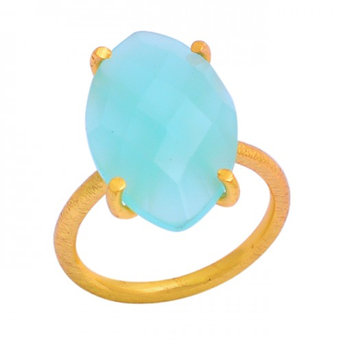 Faceted Marquise Shape Chalcedony Gemstone 925 Silver Gold Plated Ring