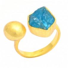 925 Sterling Silver Raw Material Apatite Rough Gemstone Gold Plated Ring