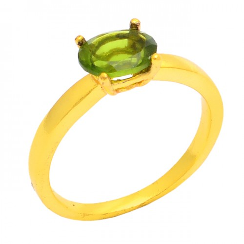 Faceted Oval Shape Peridot Gemstone 925 Silver Gold Plated Ring Jewelry