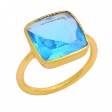 Square Shape Blue Topaz Gemstone 925 Sterling Silver Gold Plated Ring