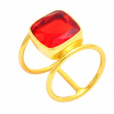 Square Shape Fanta Quartz Gemstone 925 Sterling Silver Gold Plated Ring
