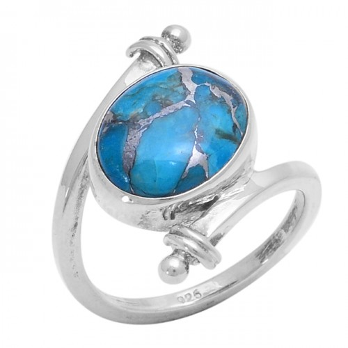 Cabochon Oval Shape Blue Copper Turquoise Gemstone 925 Silver Ring