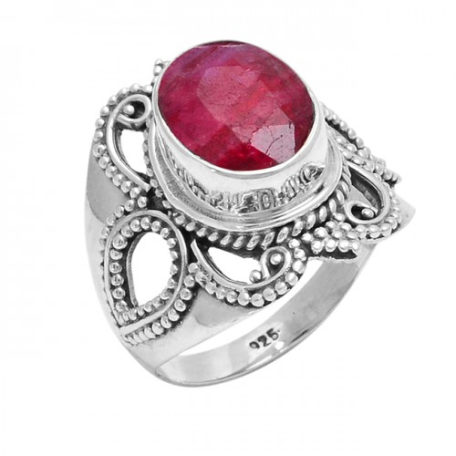 Faceted Oval Shape Ruby Gemstone 925 Sterling Silver Designer Ring