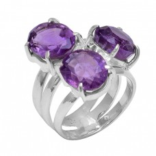 Oval Shape Amethyst Gemstone 925 Sterling Silver Prong Setting Ring Jewelry