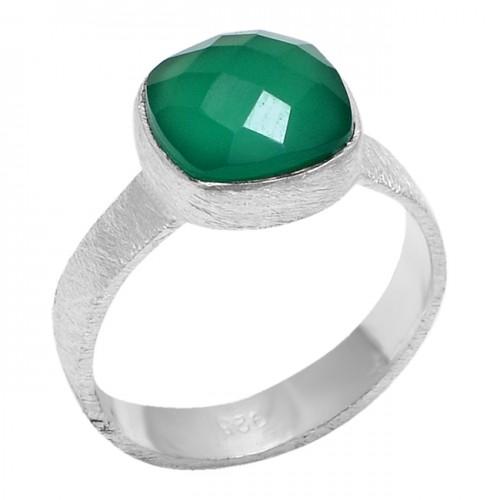 Cushion Shape Green Onyx Gemstone 925 Sterling Silver Designer Ring Jewelry