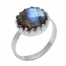 Round Shape Labradorite Gemstone 925 Sterling Silver Handmade Designer Ring