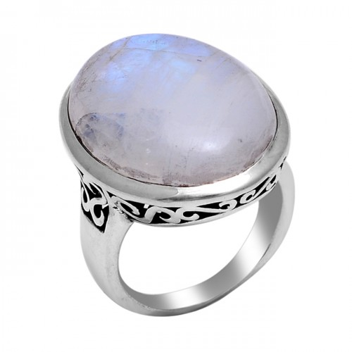 Cabochon Oval Shape Rainbow Moonstone 925 Sterling Silver Designer Ring
