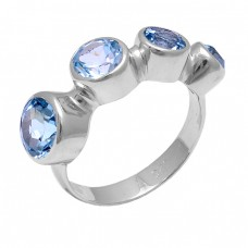 Faceted Round Shape Blue Topaz Gemstone 925 Sterling Silver Ring Jewelry