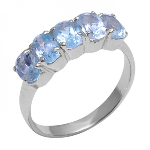 Faceted Oval Shape Blue Topaz Gemstone 925 Sterling Silver Prong Setting Ring