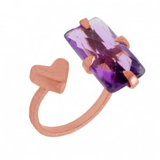 Rectangle Shape Amethyst Gemstone 925 Sterling Silver Gold Plated Ring Jewelry