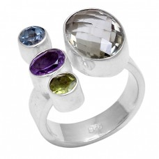 Oval Round Shape Multi Color Gemstone 925 Sterling Silver Designer Ring Jewelry