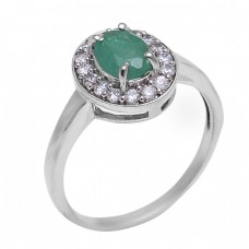 Emerald Cubic Zirconia Gemstone 925 Sterling Silver Designer Ring Jewelry