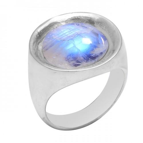 Cabochon Round Shape Rainbow Moonstone 925 Sterling Silver Stylish Ring