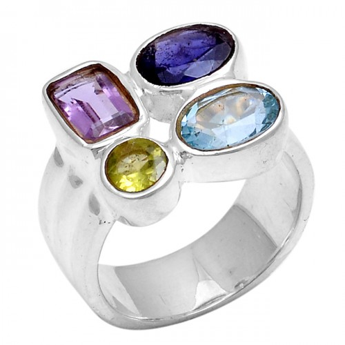 925 Sterling Silver Rectangle Round Oval Shape Gemstone Designer Ring Jewelry