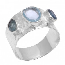 Faceted Oval Shape Blue Topaz Apatite Gemstone 925 Sterling Silver Ring Jewelry
