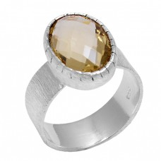 Briolette Oval Shape Citrine Gemstone 925 Sterling Silver Designer Ring Jewelry
