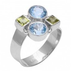Blue Topaz Peridot Gemstone 925 Sterling Silver New Stylish Designer Ring