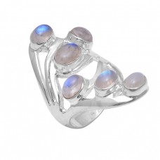 Oval Cabochon Rainbow Moonstone 925 Sterling Silver Unique Designer Ring