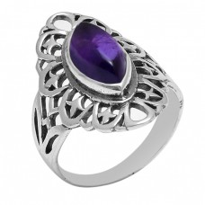 Marquise Shape Amethyst Gemstone 925 Sterling Silver Filigree Style Ring