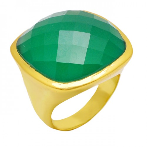 Cushion Shape Green Onyx Gemstone 925 Sterling Silver Gold Plated Ring Jewelry