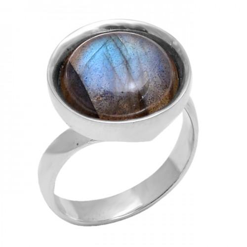 925 Sterling Silver Round Shape Labradorite Gemstone Handmade Designer Ring