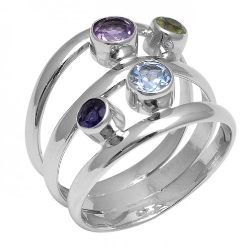Amethyst Topaz Peridot Iolite Gemstone 925 Sterling Silver Designer Ring Jewelry