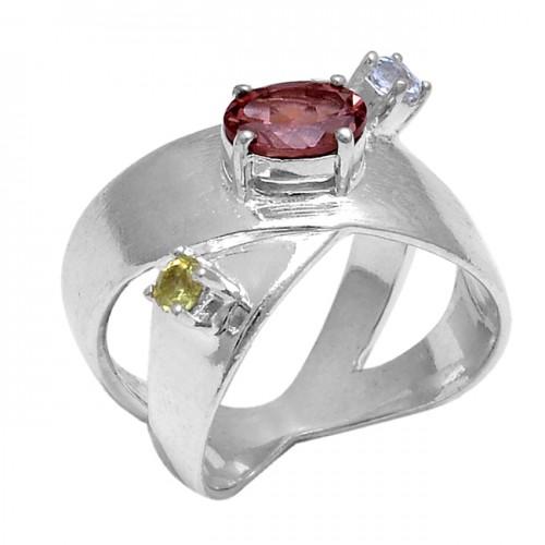 Garnet Blue Topaz Peridot Gemstone 925 Sterling Siler Latest Designer Ring