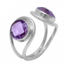 Faceted Round Shape Amethyst Gemstone 925 Sterling Silver Handmade Ring