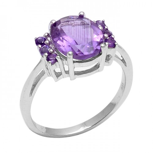 Oval Round Shape Amethyst Gemstone 925 Sterling Silver Prong Setting Ring