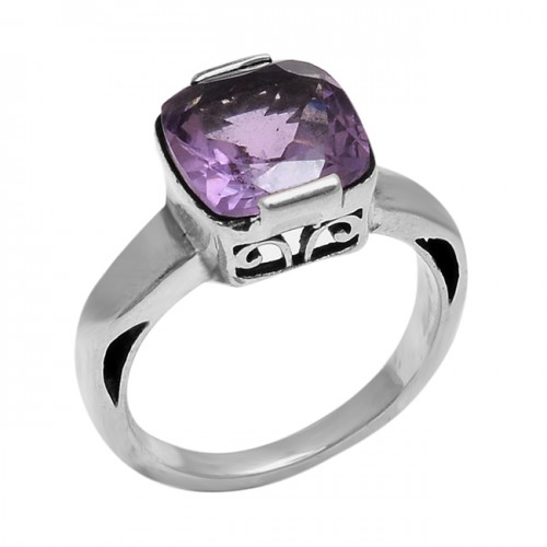 Faceted Square Shape Amethyst Gemstone 925 Sterling Silver Ring Jewelry