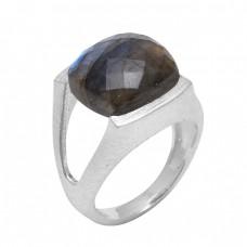Faceted Square Shape Labradorite Gemstone 925 Sterling Silver Designer Ring