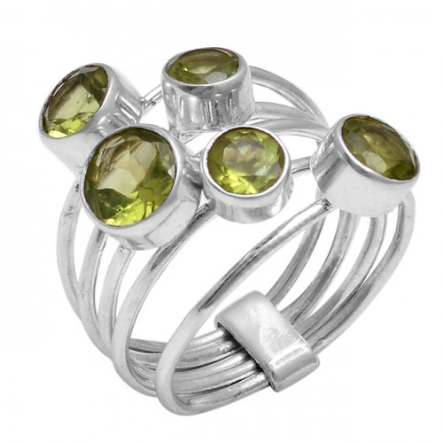 Faceted Round Shape Peridot Gemstone 925 Sterling Silver New Designer Ring