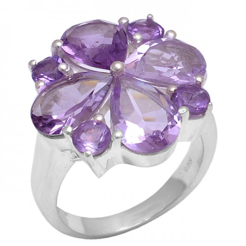 Faceted Pear Round Shape Amethyst Gemstone 925 Sterling Silver Ring Jewelry