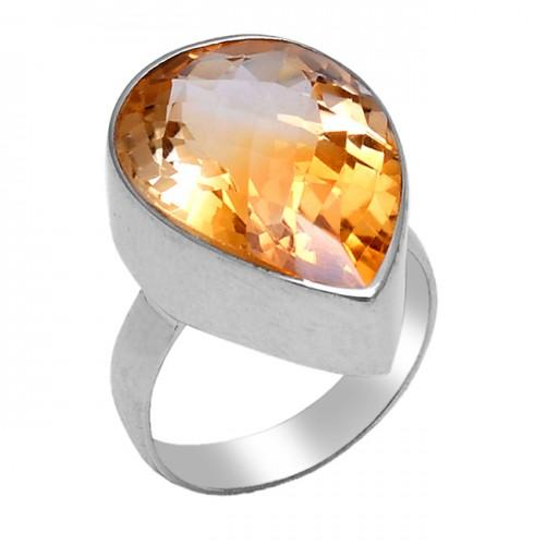 Faceted Pear Shape Citrine Gemstone 925 Sterling Silver Handmade Designer Ring