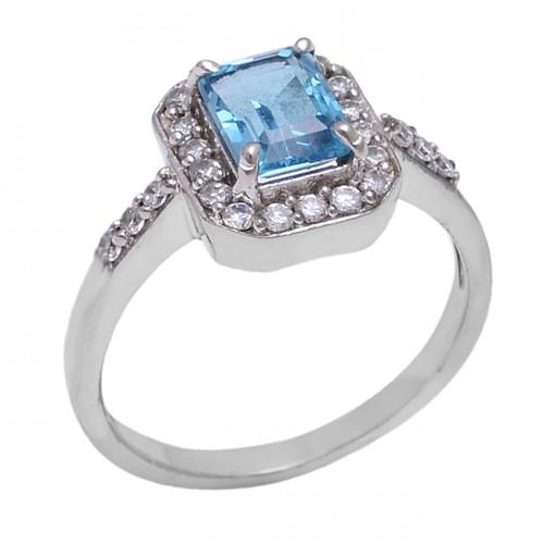 Blue Topaz Cubic Zirconia Gemstone 925 Sterling Silver Cocktail Designer Ring