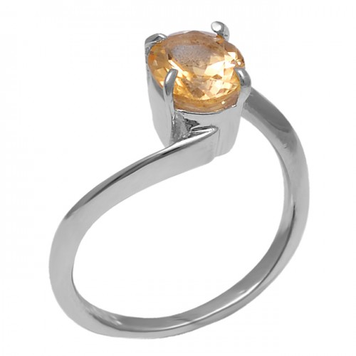 Faceted Oval Shape Citrine Gemstone 925 Sterling Silver Band Designer Ring