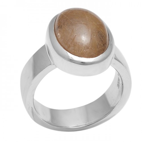 Oval Cabochon Golden Rutile Quartz Gemstone 925 Sterling Silver Ring Jewelry