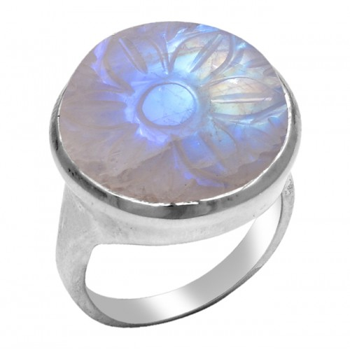 Carving Round Rainbow Moonstone 925 Sterling Silver Designer Ring Jewelry