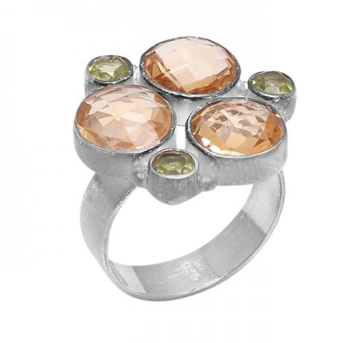 Round Shape Citrine Peridot Gemstone 925 Sterling Silver Designer Ring Jewelry