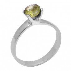 Faceted Round Shape Peridot Gemstone 925 Sterling Silver Prong Setting Ring