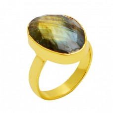 Oval Shape Labradorite Gemstone 925 Sterling Silver Gold Plated Ring Jewelry