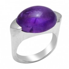 Oval Cabochon Amethyst Gemstone 925 Sterling Silver Designer Ring Jewelry