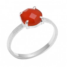 Prong Setting Round Shape Carnelian Gemstone 925 Sterling Silver Jewelry Ring