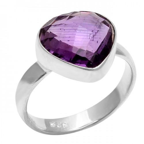 Hearts Shape Amethyst Gemstone 925 Sterling Silver Jewelry Ring